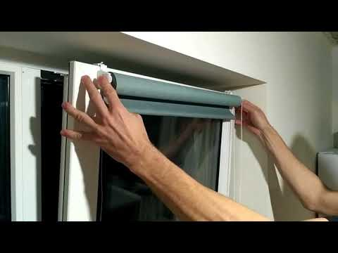 Как повесить рулонные шторы на пластиковые окна без сверления видео