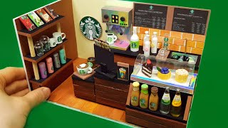 DIY Miniature Realistic Board shop #3  - StarBucks coffee shop decor