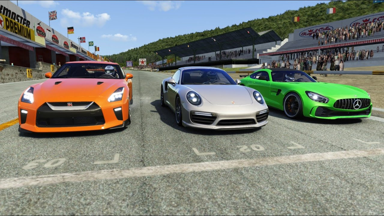 Porsche 911 Turbo S vs Nissan GT-R vs Mercedes-Benz AMG GTR at Old Spa