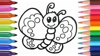 Cómo Dibujar y Colorear Una Mariposa de Arco Iris -  How to Draw Rainbow Butterfly / FunKeep