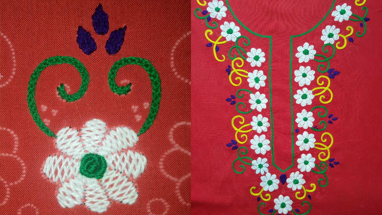 Flower stitch hand embroidery neck design youtube