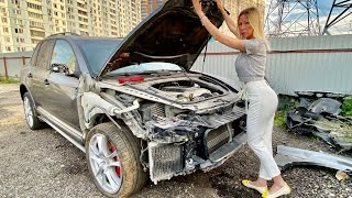 СМОТРИМ АДОВО БИТЬЕ! Porsche Cayenne GTS. Автохлам на запчасти