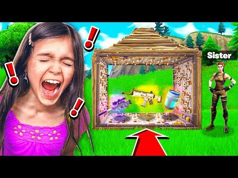 TROLLING MY LITTLE SISTER IN FORTNITE BATTLE ROYALE!