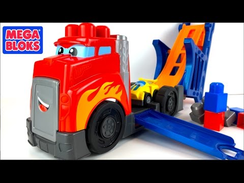 MEGA BLOKS FIRST BUILDERS FAST TRACKS RACING RIG  PLAYSET FROM FISHER PRICE WITH RACE CAR - UNBOXING