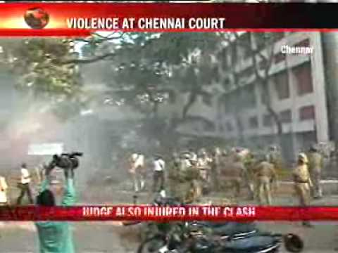 Violence at Madras High Court, 100 injured