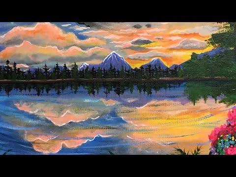 Painting Timelapse Sundown at the lake