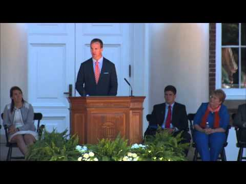 Peyton Manning Passes Footballs and Advice to Graduating Students