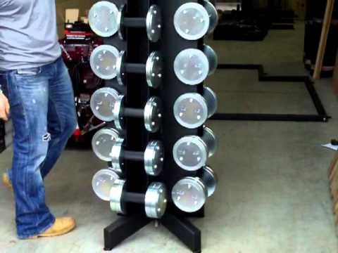 Watson revolving dumbbell rack youtube for Diy dumbbell rack wood
