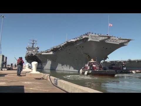 Aircraft Carrier USS Enterprise Departs Naval Station Norfolk