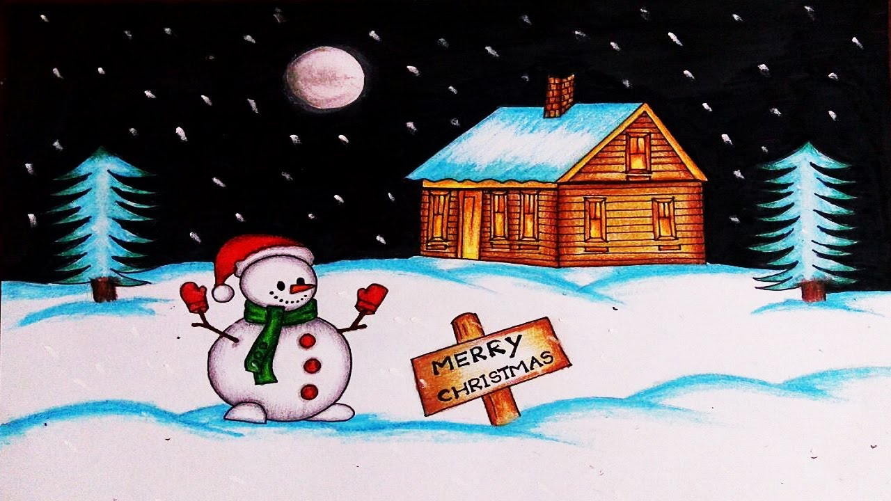 Christmas Drawings How To Draw A Christmas Scene With Snowman
