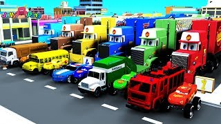 Learning Color name With Special City Vehicle Mack truck car carrier for kids car toys
