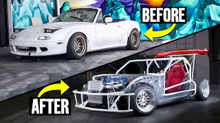 Building a Miata Kart in 12 Minutes: $200 Junker to 300hp Supercharged Mazda Exo-cart Shredder