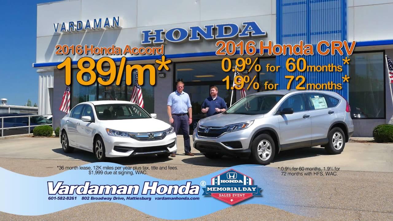 WDAM Commercial - Vardaman Honda - Memorial Day - YouTube