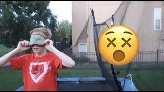 BLINDFOLDED TRAMPOLINE TRICKS! *bad idea*