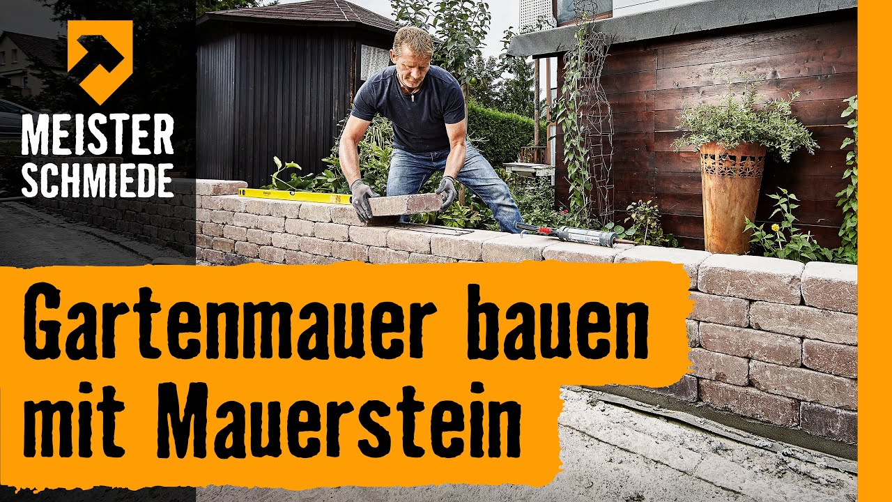 gartenmauer bauen mit mauersteinen hornbach meisterschmiede youtube. Black Bedroom Furniture Sets. Home Design Ideas