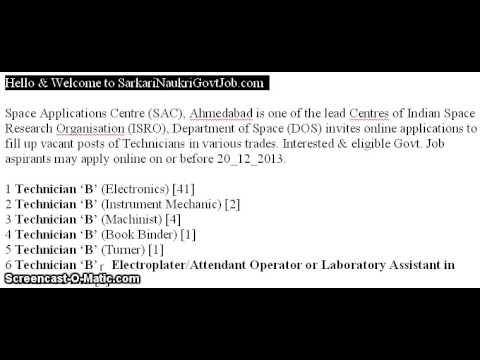 Space Applications Centre Recruitment 2013