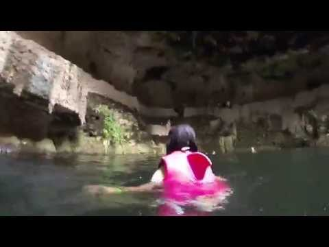 Mexico Yucatan Sinkhole swim. Chyanne's 1st jump to mother nature's pool.