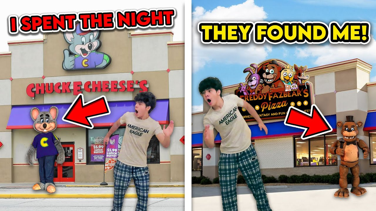 BREAKING INTO CHUCK E. CHEESE AND FREDDY FAZBEAR'S PIZZERIA IN REAL LIFE!! *THEY CAUGHT ME*