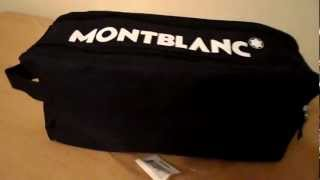 NEW RARE MONTBLANC AUTHENTIC BLACK DESIGNER TRAVEL TOILETRY BAG WORLD SHIPPING