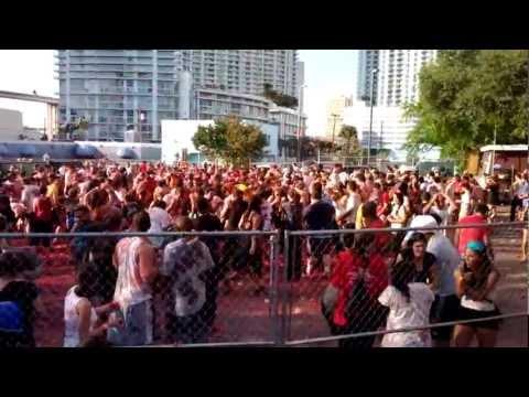 Rotten tomato fight at Tobacco Road, Miami. Feb 11th 2012