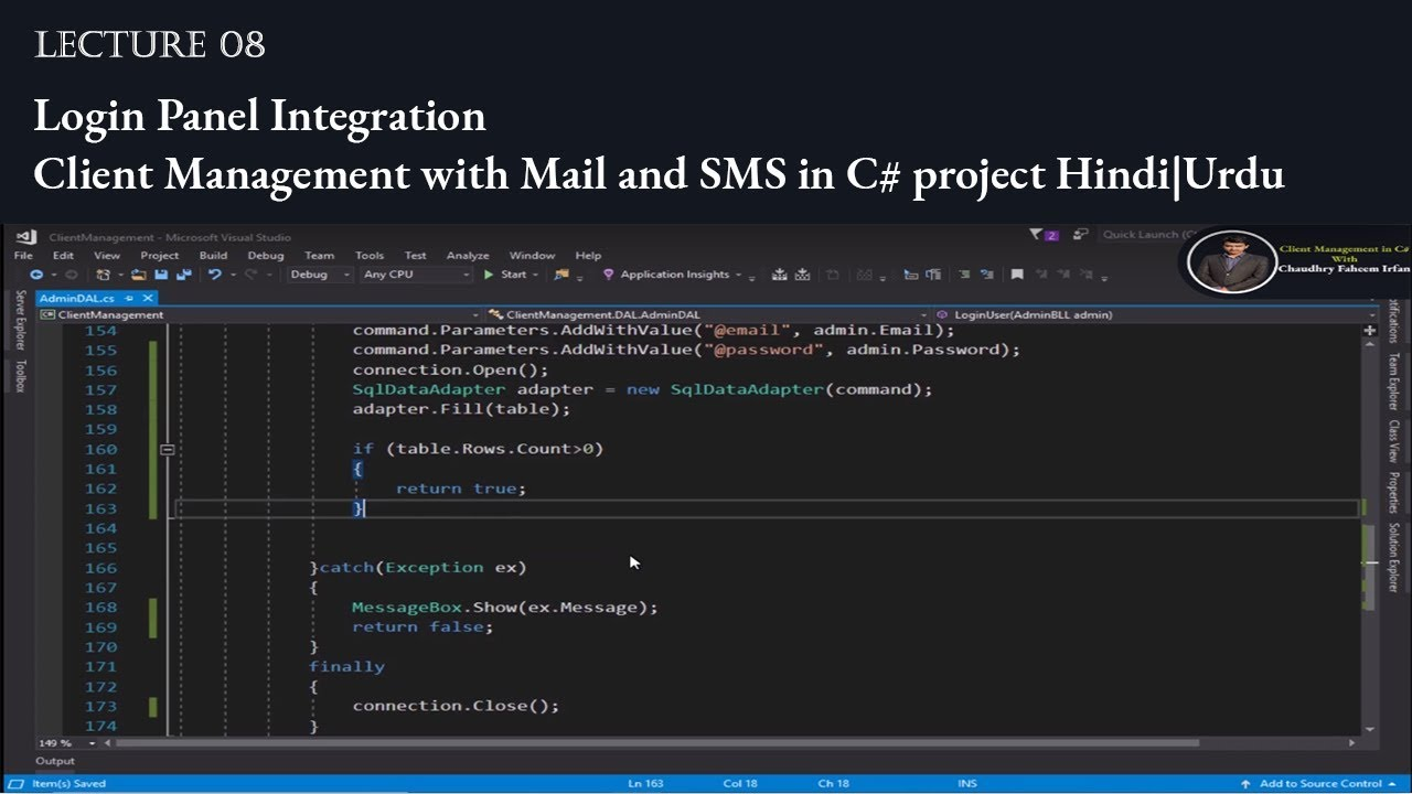 8 Login Panel integration Client Management with email and SMS in C#  project Hindi Urdu