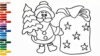 How to Draw Santa Claus and a Bag of Gifts Drawing and Painting for Kids