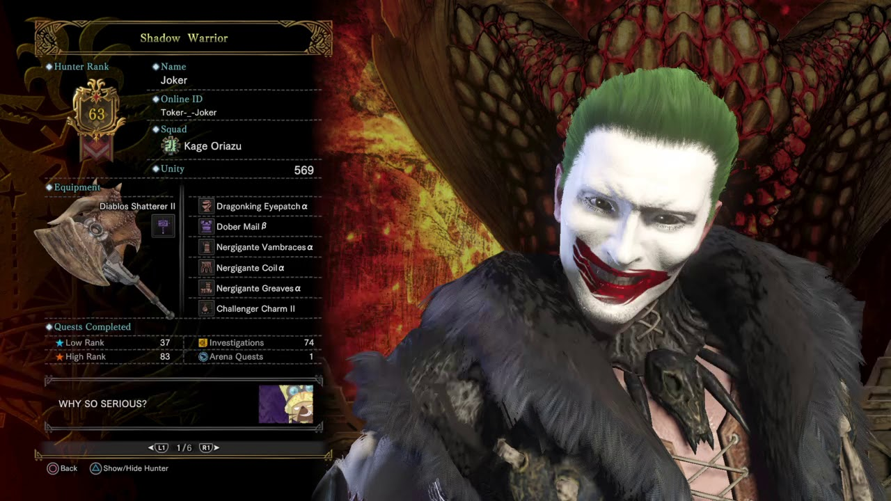 monster hunter world - the joker cosplay/hammer build - youtube