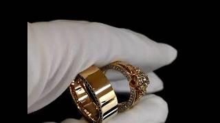 Обручальные кольца из красного золота женское кольцо-трансформер с натуральными камнями