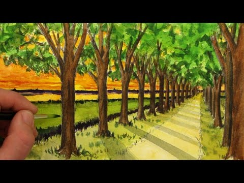 how-to-draw-a-road-with-trees-in-one-point-perspective