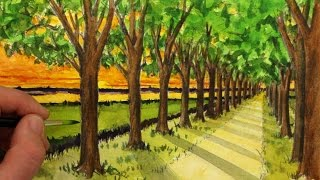 How to Draw a Road with Trees in One-Point Perspective