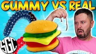 EATING LIVE WORMS! Gummy VS Real Food CHALLENGE