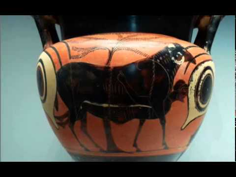 05   Ancient Greece   06   Archaic  Mixing Vessel with Odysseus escaping from the Cyclops's cave