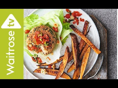Chipotle Bean Burgers With Lettuce Cups And Sweet Potato Wedges | Waitrose
