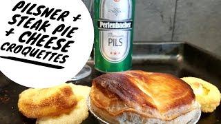 Lidl Perlenbacher Pils With Lidl Deluxe Steak & Long Clawson Stilton Pie + Lidl Cheese Croquettes