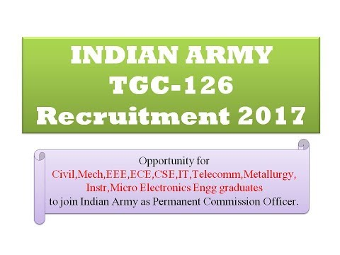 Indian Army (TGC-126) || Officers Recruitment 2017
