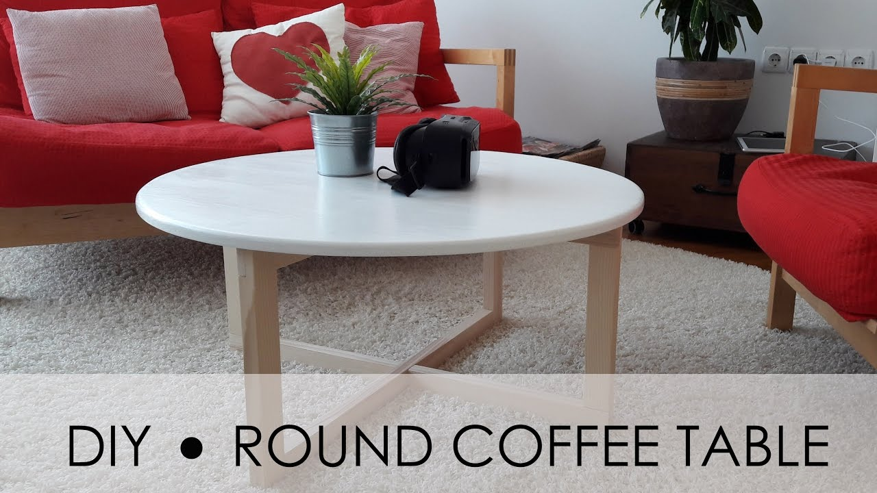 Diy round coffee table easy simple youtube for Diy coffee and end tables