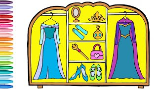 Glitter Frozen Elsa Closet coloring and drawing Accessories Learn colors for kids   Shiny Art