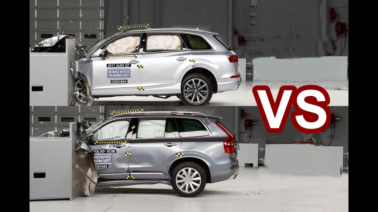 2016 Volvo XC90 Vs 2017 Audi Q7 - Crash Test - YouTube