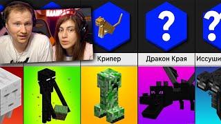 Сравнение Майнкрафт Мобы и их Слабости РЕАКЦИЯ