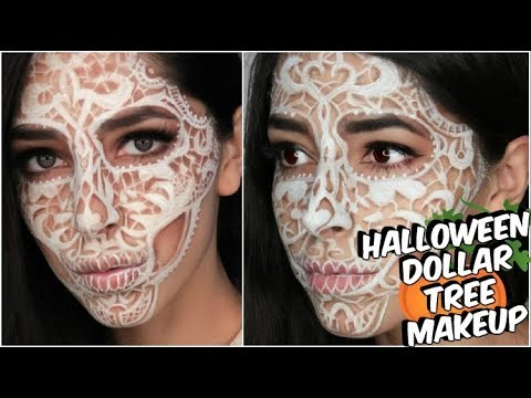 DOLLAR TREE LACE SKULL HALLOWEEN MAKEUP TUTORIAL