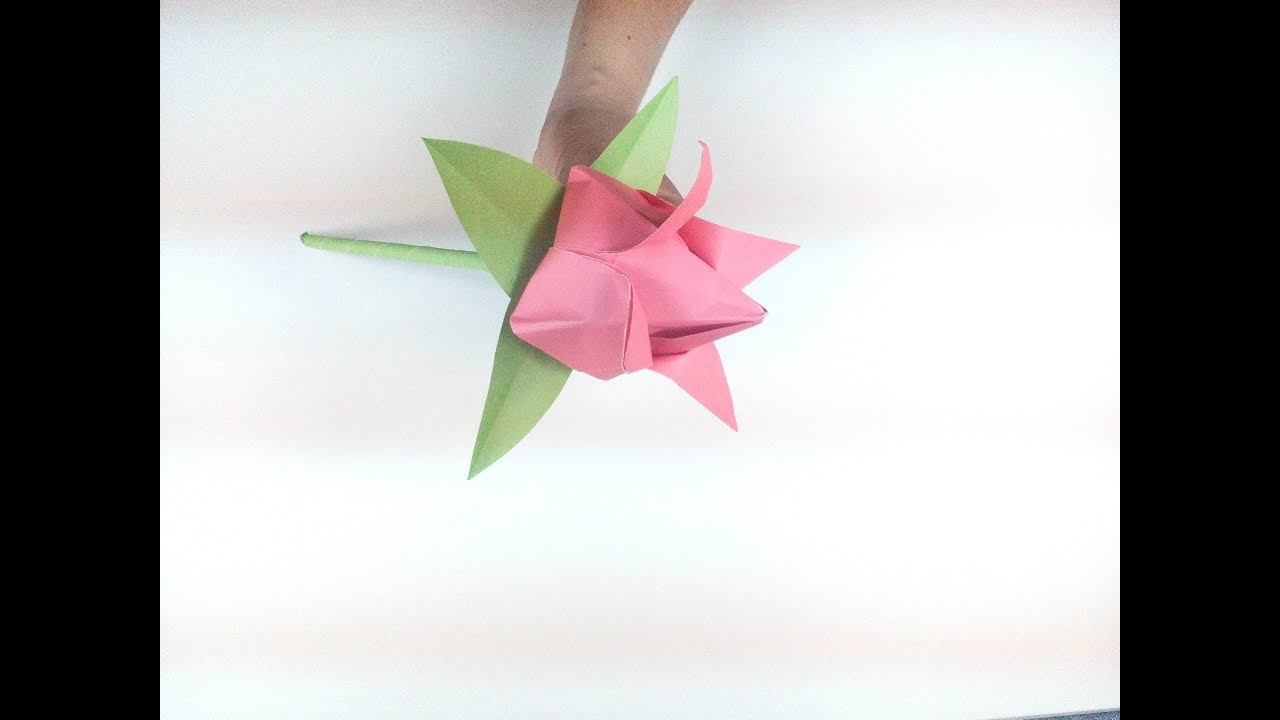 Origami flower how to make a beautiful paper tulip flower with origami flower how to make a beautiful paper tulip flower with stem and leaf step by step easy tut jeuxipadfo Image collections