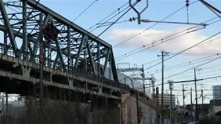 小田急江ノ島線・東海道線跨線橋を渡る特急ロマンスカー(Odakyu Enoshima Line)