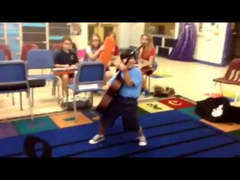 Daniel Performs 'Batman' for Classmates at Jerry Thomas Elementary School