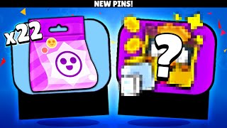 22 Epic Pin Pack Opening! (New Brawler Pins)