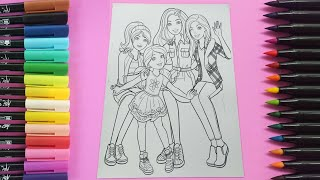 Coloring Barbie & Friends Coloring Book Page|Coloring for Kids|P.Play&Learn