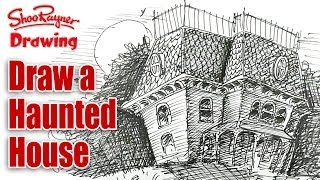 How to draw a Haunted House - spoken tutorial for Halloween!