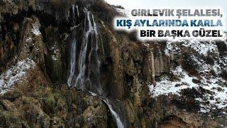 Karla Buluşan 'Girlevik Şelalesi' Güzelliğiyle Hayran Bıraktı
