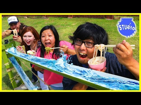 NOODLE CHALLENGE WITH DIY JAPANESE BAMBOO NOODLE SLIDE