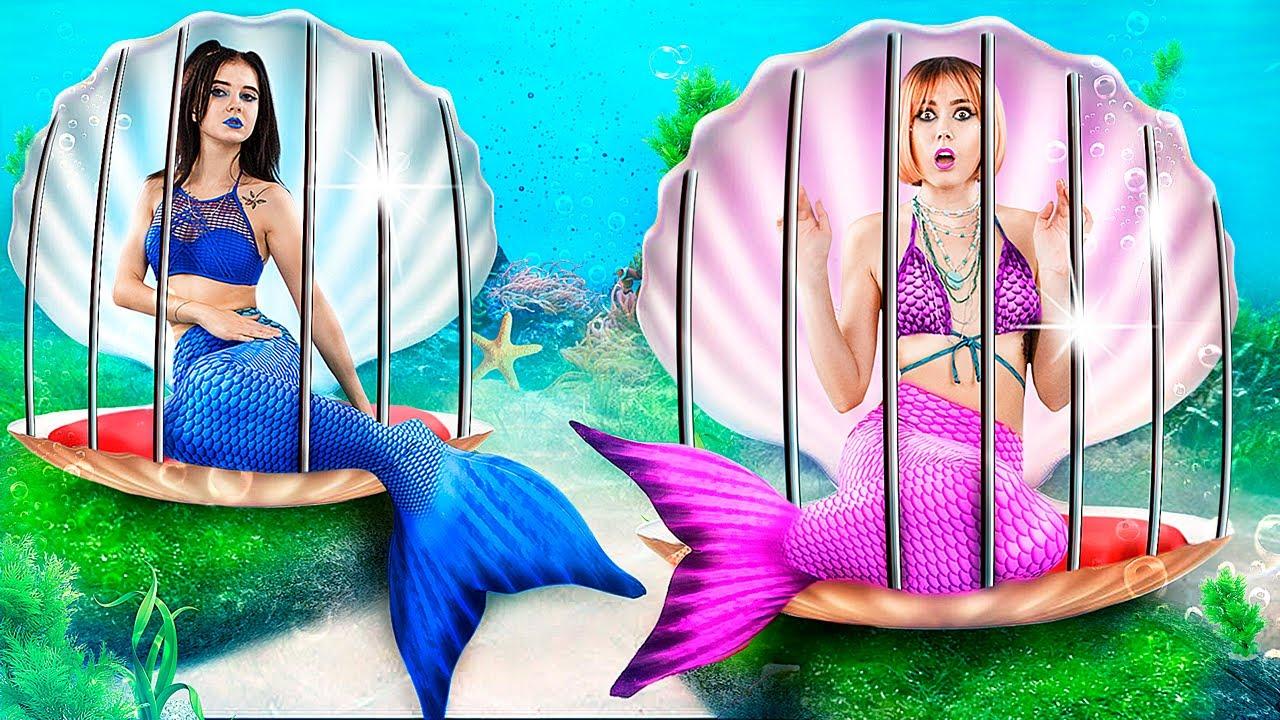 Плохая русалка vs хорошая русалка в тюрьме! Побег из подводной тюрьмы