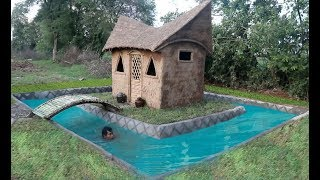 Build Mud House & Swimming Pool Around House, Full Video